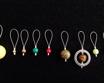 THE ORIGINAL Solar System Snag-free Stitch Markers, 8 Planets and sun