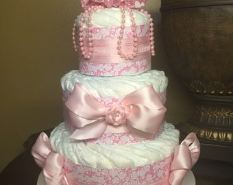 Three tier elegant baby pink diaper cake with pearls