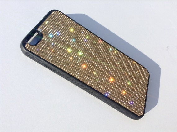 iPhone 6 Plus / iPhone 6s Plus Gold Diamond Crystals on Black Rubber Case. Velvet/Silk Pouch Bag Included, Genuine Rangsee Crystal Cases.