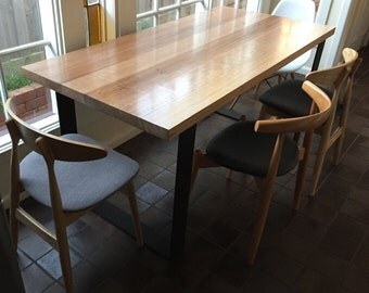 Monarch Hardwood Dining Table with loop metal legs
