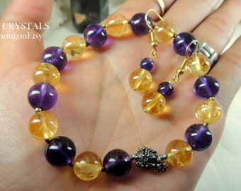 CÉLEST Crystals Melody of Natural Citrine Amethyst Bracelet Earrings Sterling Silver Set