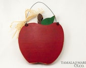 Wooden Red Apple Teacher's Sign- Country  Classroom Sign, Apple Shaped, Back to School, Rustic Wooden Apple Sign, Teacher's Name