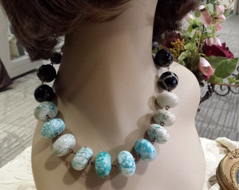 One strand turquoise howlite designer necklace