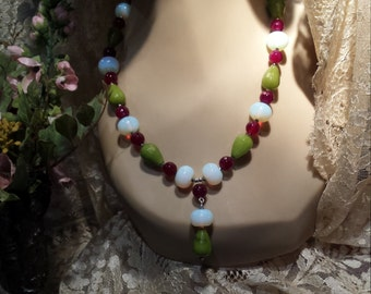 One strand faceted jade and opalite necklace