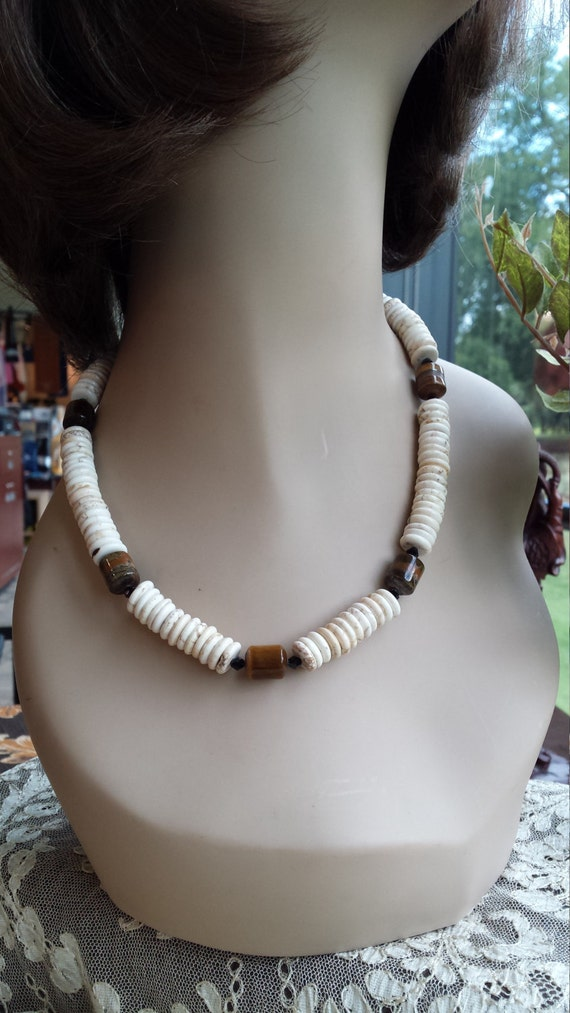 One strand beaded necklace white turquoise  and tiger eye