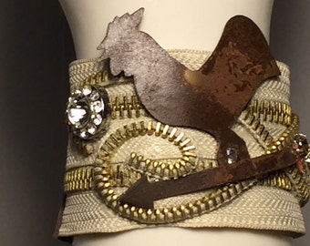 Double Cream and Gold Zipper Cuffz with vintage jewels with a rusty rooster adding character