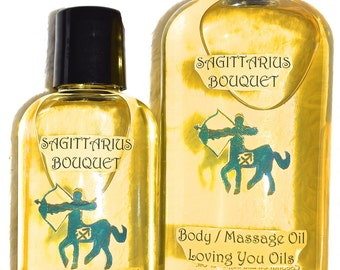 Sagittarius Bouquet Body / Massage Oil with Blue Topaz Gemstones
