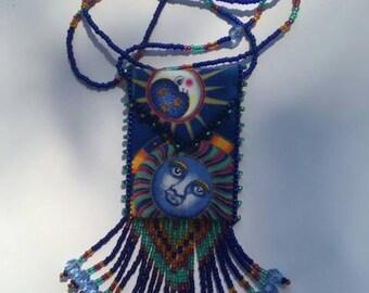Beaded Amulet Bag Necklace - Celestial