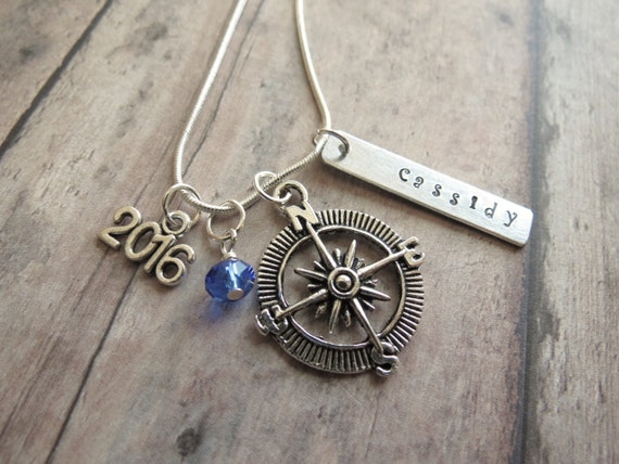 items similar to compass necklace graduation personalized. Black Bedroom Furniture Sets. Home Design Ideas