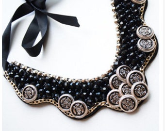 Black & gold beaded collar