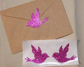 Large Pink Glitter Bird Seals - Envelope Seals Dove Seals Stickers - Wedding Event Swallow Dove Seals Love Birds