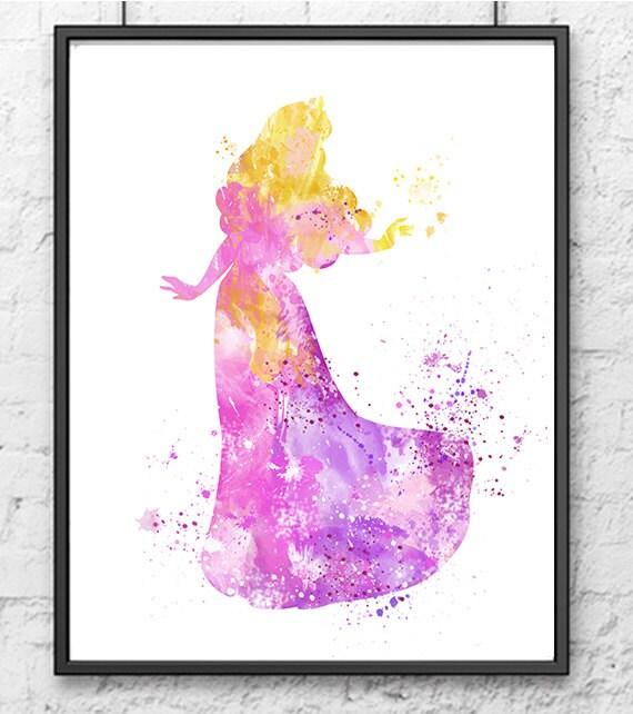 Sleeping Beauty Watercolor Print Princess Aurora Art Disney