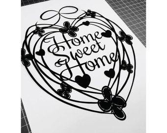 Home Sweet Home -  heart design template for paper cutting - Personal And Commercial Use
