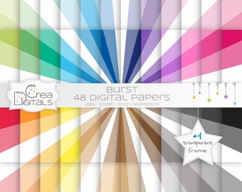 Burst rainbow paper pack - 48 digital papers - INSTANT DOWNLOAD