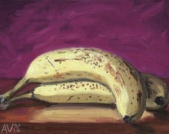 Original Oil Painting Still Life, Ripe Bananas by Aleksey Vaynshteyn
