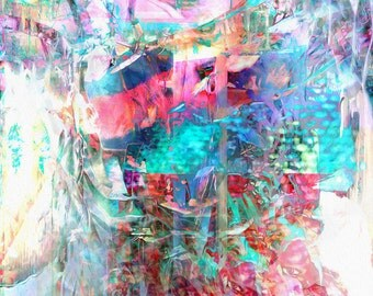 Twisted art, abstract original art, abstract print, wild imagery, color splash, pink, turquoise, multicolored, photosphere, Manic Beauty