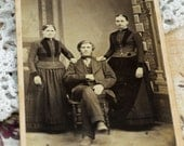 Antique Pioneer Family Photo, Cabinet Card, 1800s , Nebraska Pioneers, David City, Nebraska, Schaffer   #383 ok