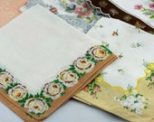Five CUTTER Hankies, Vintage Hankies for Crafting, Sewing, Quilting, Altered Art, Mixed Media, Collage  #447  ok
