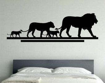 Lion Family Wall Decal Decal Sticker Art Decor Bedroom Design Mural family love animals home decor room decor