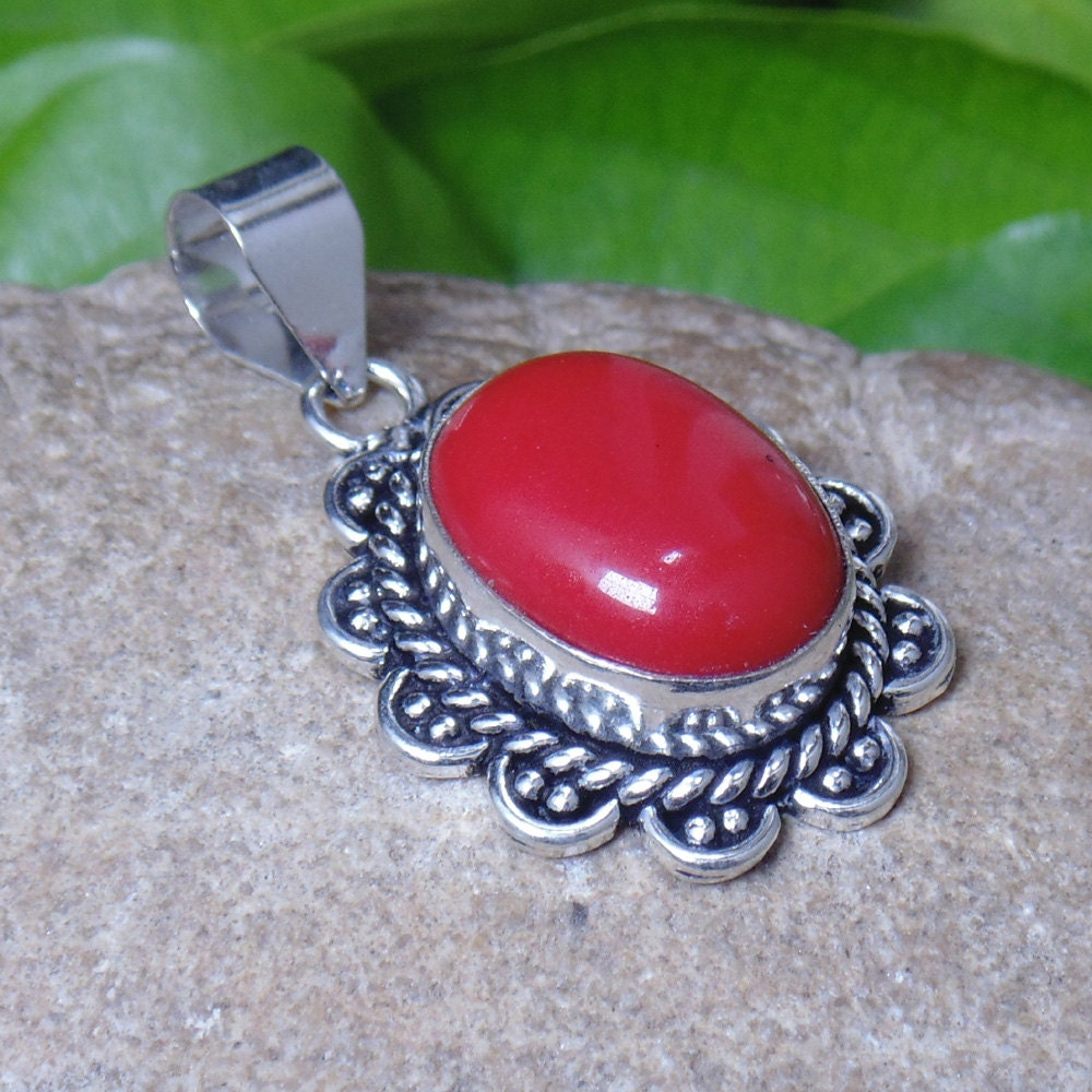 Red Coral Chandelier With 3 Lights: Natural Coral Pendant Red Coral Jewelry Bezel Setting