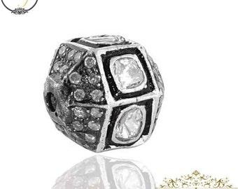 Bead Ball Finding, 10 mm Rose Cut Diamond, 925 Silver Designer Hexagon Finding Handmade Jewelry Component,Diamond Silver Spacer Ball Finding