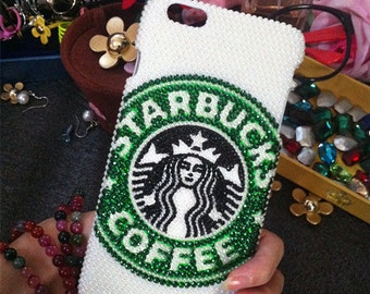 New Bling Starbucks Luxury Lovely Fashion Sparkles Charms Glossy Unique Crystals Rhinestones Diamonds Gems Hard Cover Case for Mobile Phone