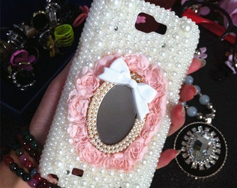 Charms Bling Mirror Pink Lace Rose Bow Glossy Pearls Rhinestones Diamonds Fashion Crystals Lovely Jewelled Hard Cover Case for Mobile Phone