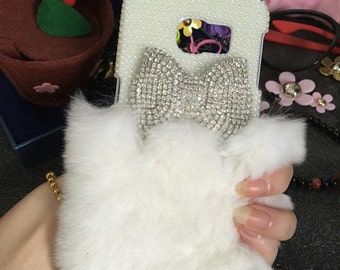 Bling Sparkles Lovely Gems Bow Pearls Luxury White Soft Fluffy Fur Furry Crystals Rhinestones Diamonds Fashion Hard Case for Mobile Phones