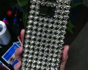 Punk Rivets Studs Spikes Studded Bling Fashion Sparkles Charms Glossy Crystals Rhinestones Diamonds Gems Hard Cover Case for Mobile Phone