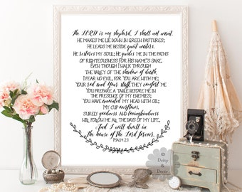 Psalm 23 the Lord is my shepherd  Bible verse Scripture print typography poster art print wall decor office print modern art wall