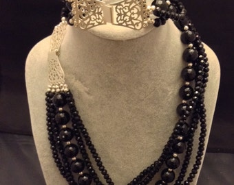 5 strand black onyx and Swarovski crystals and sterling silver necklace and bracelet