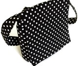 Small Messenger  Black and White Polka Dots with Magnetic Closure