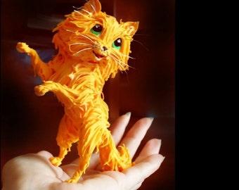 The orange cat figurine,cat statue,cat sculpture,orange,figures to order