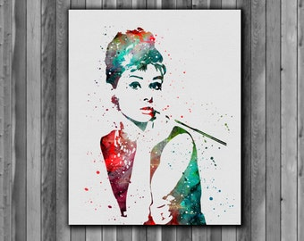Audrey Hepburn Watercolor Print, instant download, Watercolor poster, poster