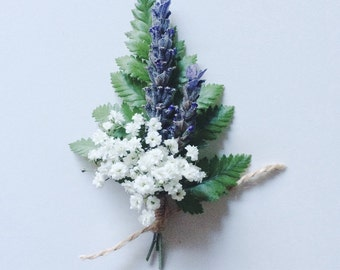 Boutonniere of fern, lavender and babys breath, real flower boutonniere, fresh flower boutonniere, groomsmen accessory
