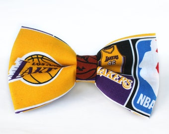 Lakers Bow Tie | Bow Tie for Men | For Him | Bowtie | Self Tie | Dog Bow Tie | Mens Bow Tie | Boys Bow Tie | NBA | Sports Bow Tie