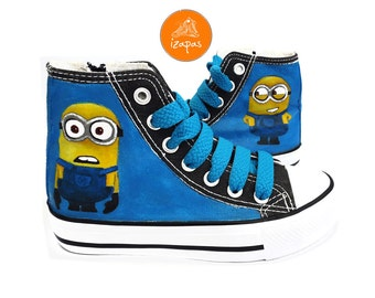 Hand Painted Minion Hi Top Boots