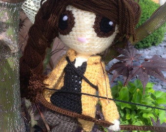Katniss Everdeen Crochet Doll - Hunger Games Knitted Figure - Stuffed Toy - Cute Fabrications