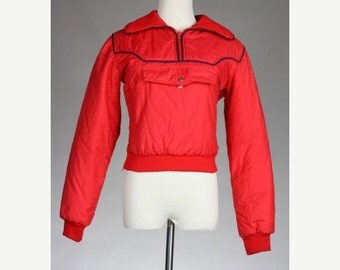 ON SALE Vintage 80s Roffe Skiwear Red Pullover Puffy SKI Jacket/Coat Puffer S