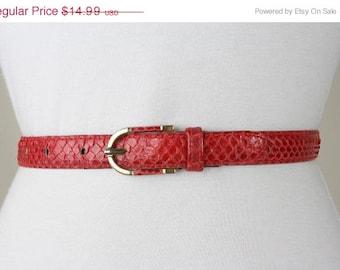 ON SALE Vintage 80s Red Snakeskin Leather Belt M 26-30