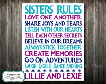 """Custom Personalized Digital Printable: """"Sisters Sister Rules"""" Wall Art Print Baby Gift Children Child Gift- Disney Frozen Theme"""