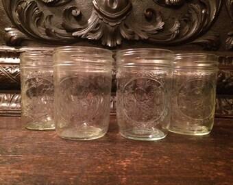 Vintage Ball Mason Jars Lot of 4 Sculptured 6 OZ Jars