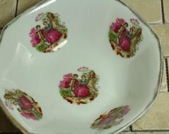 Vintage Large Decrotive Salad/Serving Bowl Man and Women In a Feild Gold Trim Work