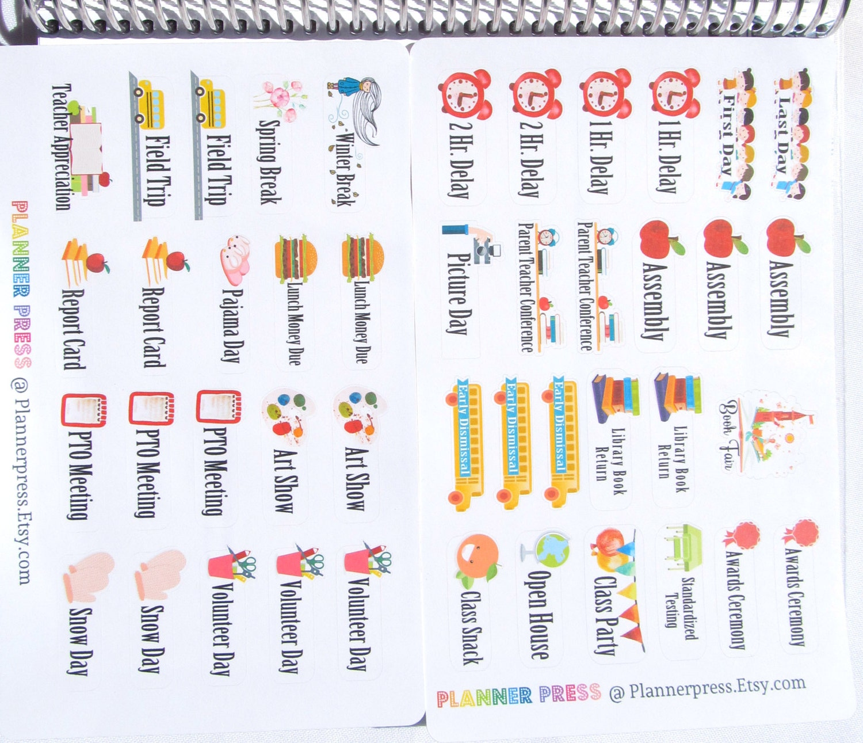 fun theme school sampler set planner sticker for erin condren