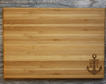Anchor, Anchor Gift, Anchor Wedding Gift, Anchor Monogram, Personalized Wedding Gift, Personalized Cutting Board