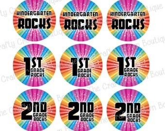 "School Rocks ~ INSTANT DOWNLOAD 4x6 Digital 1"" Inch Bottle Cap Image Digital Collage Sheet ~ CCB"