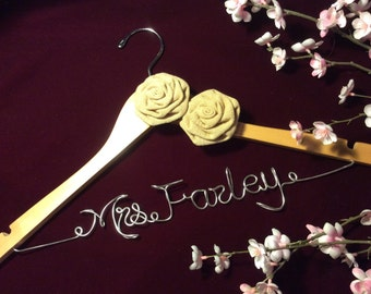 Rustic wedding hanger, Personalized wedding hanger, Bride hanger, wedding dress hanger