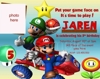 Super Mario Birthday Invitation, Super Mario Bros Invitation. Super Mario Invitation. Digital (you print) With or Without Photo