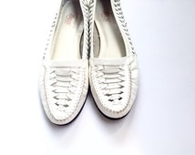 White leather vintage shoes