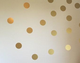 Gold Polka Dot Decals Vinyl Decals Gold Dot Decals Wall Decals 4 Inches Dots Vinyl Wall Circles Confetti Trendy Metallic Gold